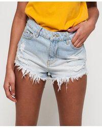 Superdry Eliza Cut Off Denim Shorts - Blue