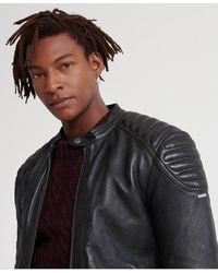 Superdry City Hero Leather Racer Jacket - Black