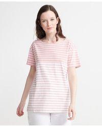 Superdry Camiseta a rayas marineras - Rosa