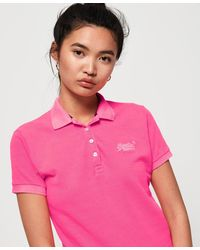 Superdry Cotton Polo Top - Pink