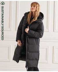 Superdry Manteau long, garnissage en polyester recyclé - Noir
