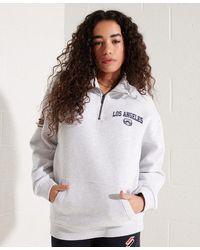 Superdry Limited Edition City College Kraagloze Sweater Met Halve Ritsslu - Grijs