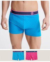 Superdry Organic Cotton Boxer Double Pack - Blue