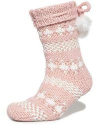 Superdry Sparkle Fairisle Slipper Socks - Pink