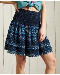 Superdry Mini jupe smockée Ameera - Bleu