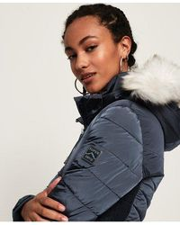 Superdry Luxe Fuji Puffer Jacket - Blue