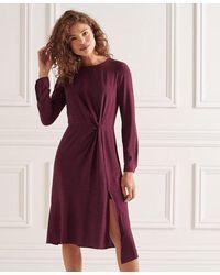 Superdry Vestido de manga larga con nudo de fibras Ecovero - Rojo