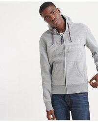 Superdry Downhill Racer Applique Zip Hoodie - Grey