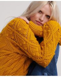 Superdry Sophie Ann Cable Knit - Yellow