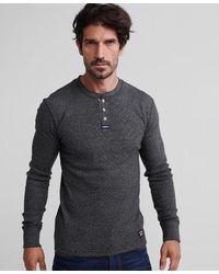 Superdry Heritage Long Sleeve Grandad T-shirt - Black