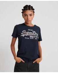 Superdry Camiseta con lentejuelas, purpurina y logo Vintage brillante - Azul