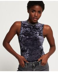 Superdry Cassidy Crush Velvet Bodysuit - Blue
