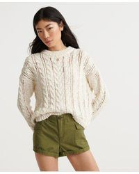 Superdry Layla Open Cable Knit Sweater - White