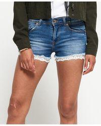 Superdry Denim Lace Hot Shorts - Blue