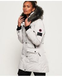 Superdry Antarctic Explorer Down Parka Jacket - Grey
