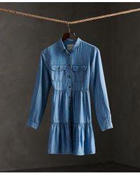 Superdry Tiered Shirt Dress - Blue