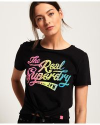 Superdry The Real Sdry Knot Front T-shirt - Black