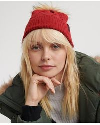 Superdry Lannah Cable Beanie - Red