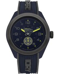 Superdry 'navigator Military' Quartz Plastic And Silicone Casual Watch, Color:blue (model: Syg214u)