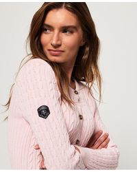 Superdry Croyde Bay Cable Knit Cardigan - Pink
