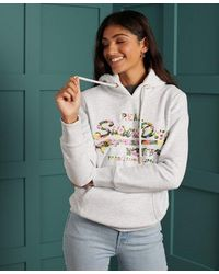 Superdry Vintage Logo Gloss Floral Hoodie - Multicolour