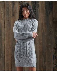 Superdry Florence Cable Knitted Dress - Grey