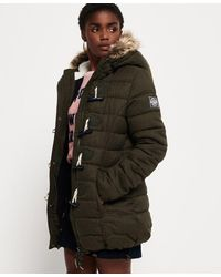 Superdry Tall Marl Toggle Puffle Jacket - Green