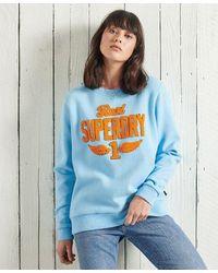 Superdry Stone Wash Graphic Crew Sweatshirt - Blue