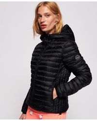 Superdry Core Down Hooded Jacket - Black