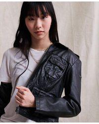 Superdry Angelina Harrington Leather Jacket - Black