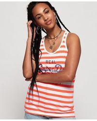 Superdry Camiseta de tirantes a rayas con logo vintage - Multicolor