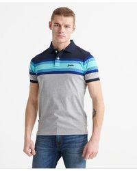 Superdry Organic Cotton Malibu Stripe Polo Shirt - Blue