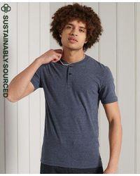 Superdry Organic Cotton Short Sleeved Henley T-shirt - Blue