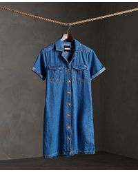 Superdry Kaya Utility Shirt Dress - Blue