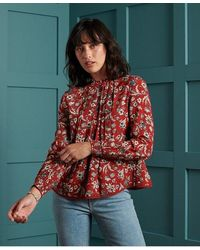 Superdry Richelle High Neck Top - Red