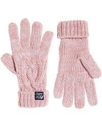 Superdry Arizona Cable Gloves - Pink