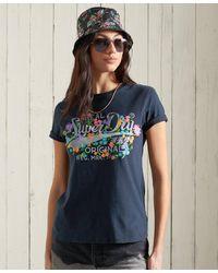 Superdry T-shirt à fleurs Real Originals - Bleu