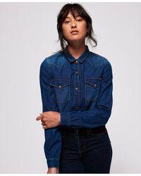 Superdry Western Denim Shirt - Blue