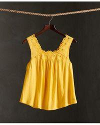 Superdry Woven Trim Vest Top - Yellow