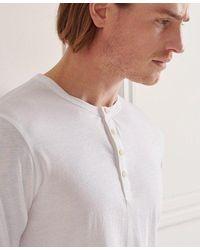 Superdry Organic Cotton Lightweight Essential Henley Top - White