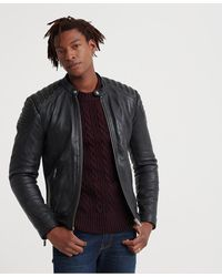 Superdry City Hero Leather Racer Jacket - Black