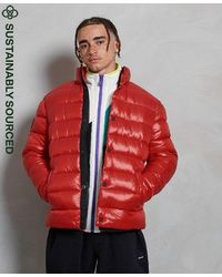 Superdry High Shine Quilted Puffer Jacket - Red