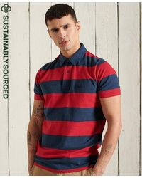 Superdry Organic Cotton Academy Stripe Polo Shirt - Red