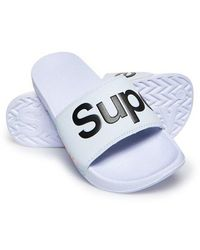 Superdry Classic Pool Logo Sliders - White