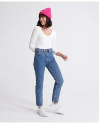 Superdry High Rise Straight Jeans - Blue
