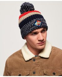 e8d4c076eb5 Lyst - Lacoste Striped Turned Edge Ribbed Cotton Beanie in Gray for Men