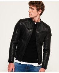 Superdry Hero Leather Racer Jacket - Black