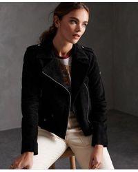 Superdry Rylee Suede Biker Jacket - Black