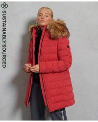 Superdry Abrigo acolchado medio Arctic - Rojo