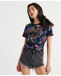 Superdry Swiss Logo Tropical All Over Print T-shirt - Blue